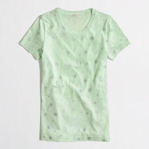 J. Crew Metallic Snowflake Tee Shirt in Mint Green